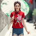 Traditional Chinese clothing 2017 women ethnic brand mandarin collar short sleeve red black white floral embroider blouse shirt