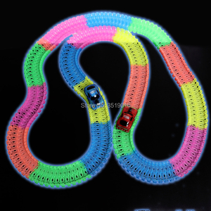 Image 4 - Glow in the Dark DIY Rail Magical Tracks 360 stunt Loop Flexible assembly Luminous track Race Car with LED Light Up  Vehicles