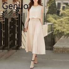 New Women Elegant Dress Summer Chiffon Plain Party Office Vestido 2019 Fashion Long Clothes Midi