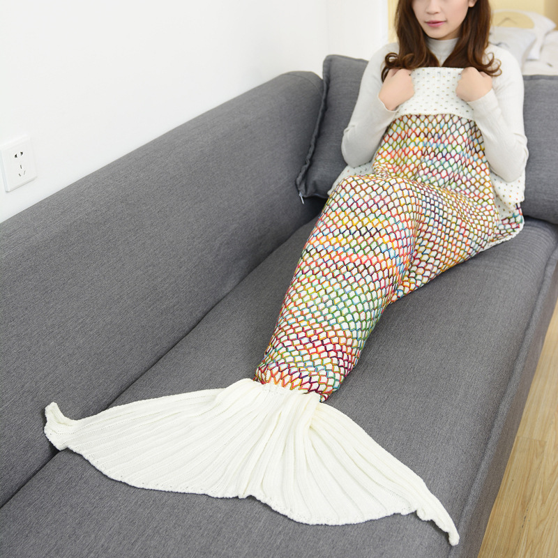 90x180cm Mermaid Tail Adults Air Conditioning Sofa Sleeping Bed Colorful Grid Crochet Knitted Crochet Mermaid Blanket