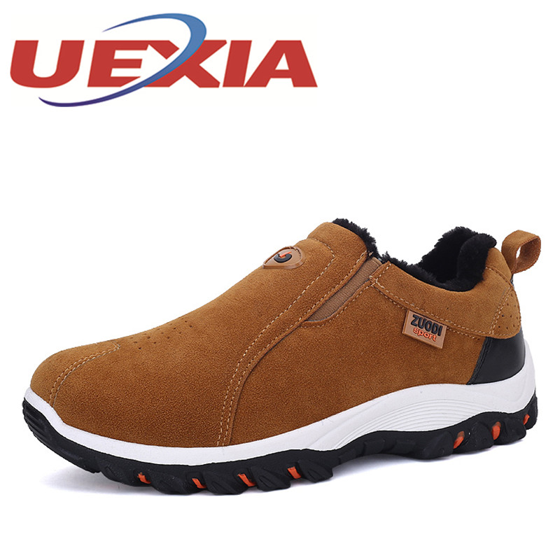 Plus Size 47 Men Warm Hiking Shoes With Fur Winter Plush Sneakers Men Outdoor Slip On Sports Shoes Mens Trekking Shoes Black 2016 men hiking outdoor winter camping shoes warm plush lining trekking hunting waterproof fish sneakers max size quality shoes