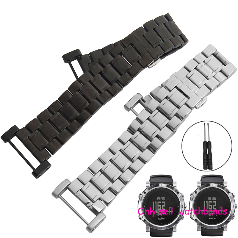 ФОТО 2016 NEW Generic 24MM Black For Suunto Core Stainless Steel Watch Band Foldable +Adapters+Lugs+Tools