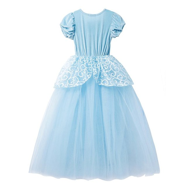 Girls Cinderella Dress up Cosplay Costumes Kids Puff Sleeve Embroidery Blue Clothes Child Christmas Birthday Princess 2