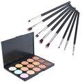 High Quality 15 Color Face Concealer Palette + 8 Pcs Makeup Brushes Facial Contour Powder Makeup Palette Maquillage Cosmetic Set