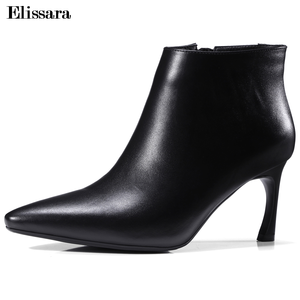 Elissara Women High Heels Ankle Boots For Women Genuine Leather Boots Fashion Zip Pointed Toe Short Boots Plus Size 33-43 elissara women ankle boots women high heels boots ladies zip high quality denim pointed toe shoes plus size 33 43