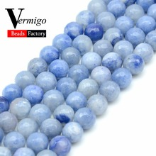 Natural Stone Beads Faceted Blue Aventurine Minerals Loose Beads For Jewelry Making Diy Bracelet 4 6 8 10mm 15inches Wholesale oval shape star stone corundum cabochon blue stone beads for jewelry making diy faceted blue stones