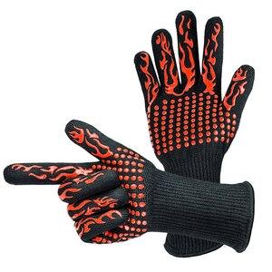 Image 2 - 1 paar Fire Isolatie Veiligheid Handschoenen 500 Celsius Hittebestendige Aramid Handschoen Aramid Grill BBQ Handschoen Oven Keuken Handschoen 4 kleur