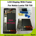 Completa nuevo negro del marco del panel lcd para microsoft lumia 730 735 pantalla lcd + digitizador de la pantalla táctil, herramientas con número de seguimiento