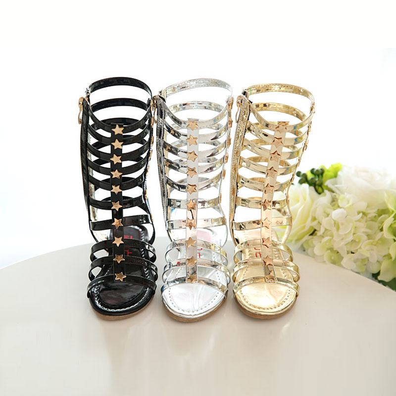 Sandals Children Shoes women Girls flat Princess Gladiator Cut-outs Cool Knee-high Boots Footwear baby mini kids summer children 2015 new deluxe brand 100% high quality flat summer women knee high gladiator sandals genuine leather cut outs cover heel shoes