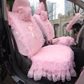 Pink Bowknot Cute Car Seat Covers Lace Series Decoration Cushion For Women wedding car 5 seats&  all accessories for peugeot 206