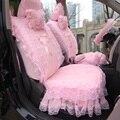 Rosa Bowknot Bonito Tampas de Assento Do Carro Rendas Decoração Série Almofada para As Mulheres de casamento 5 assentos & todos os acessórios do carro para a peugeot 206