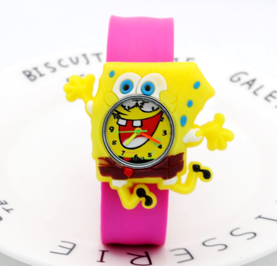 2018 New Children Boys Girls Fashion Cool Cartoon Spongebob Quartz Wrist Watches Students Kids Fashion Leather Strap Watch Children's Watches