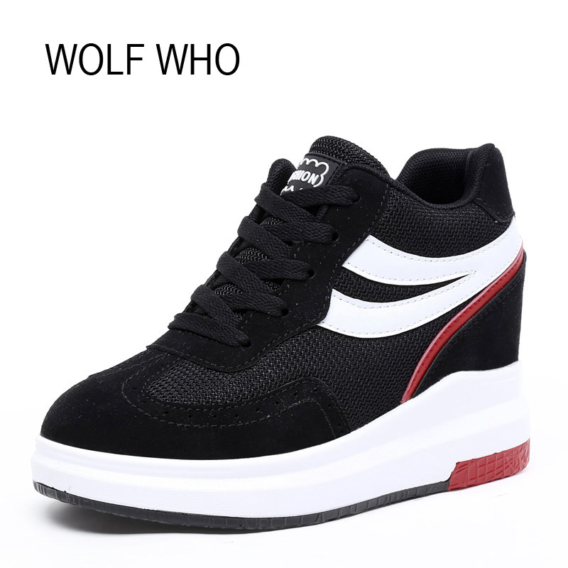 WOLF WHO Hidden Heels Platform Wedges Sneakers Women Shoe Krasovki High Heels Footwear Tenis Feminino Casual Basket Femme X168 wolf who women winter shoes fur wedge fashion sneakers women hidden heels basket femme tenis femininos casual h 152