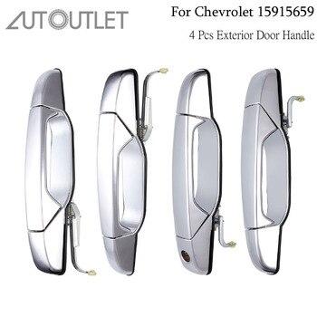 AUTOUTLET 4Pcs Exterior Door Handle For Cadillac Chevy GMC Pickup Truck 15915659 Passenger & Driver Side Outside Door Handle