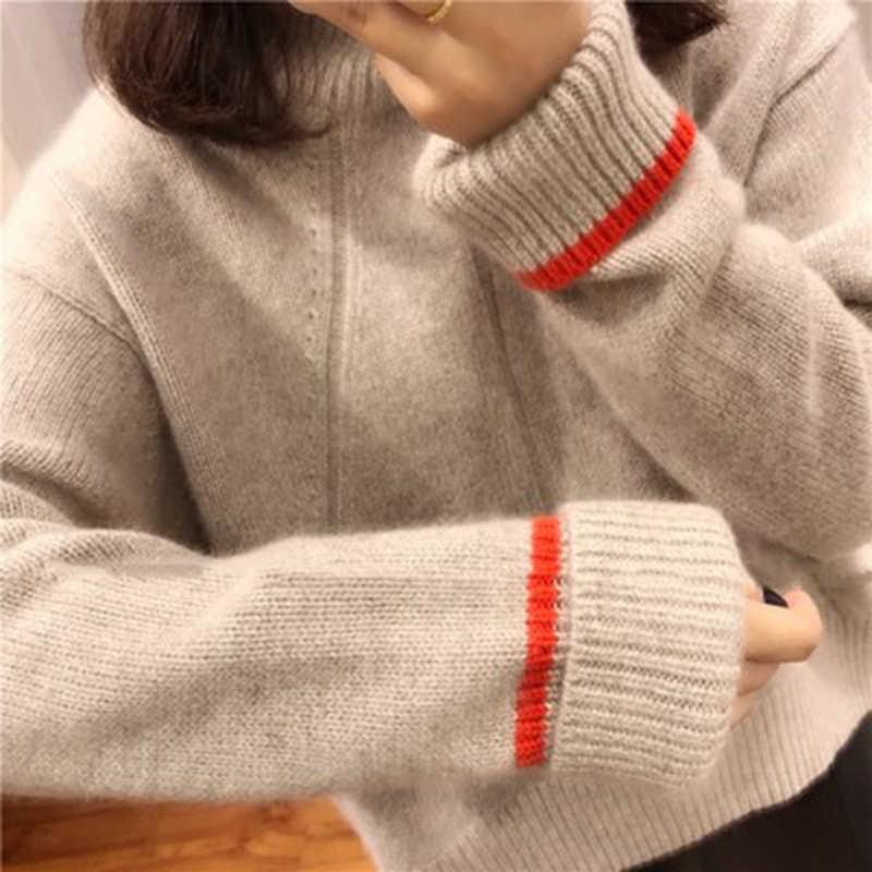BELIARST 2018 новый осенне-зимний свитер из чистого кашемира Женский Теплый свободный короткий пуловер шерстяной свитер с высоким воротником Большой размер