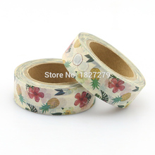 1 Roll red floral and pinapple Washi Tapes Masking Tape Decorative Stickers Diary Deco tape 10m