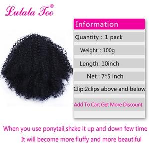 Image 2 - 巾着アフロパフ変態カーリーポニーテール人工毛パンシニョンかつら女性のためのアップクリップヘアエクステンション