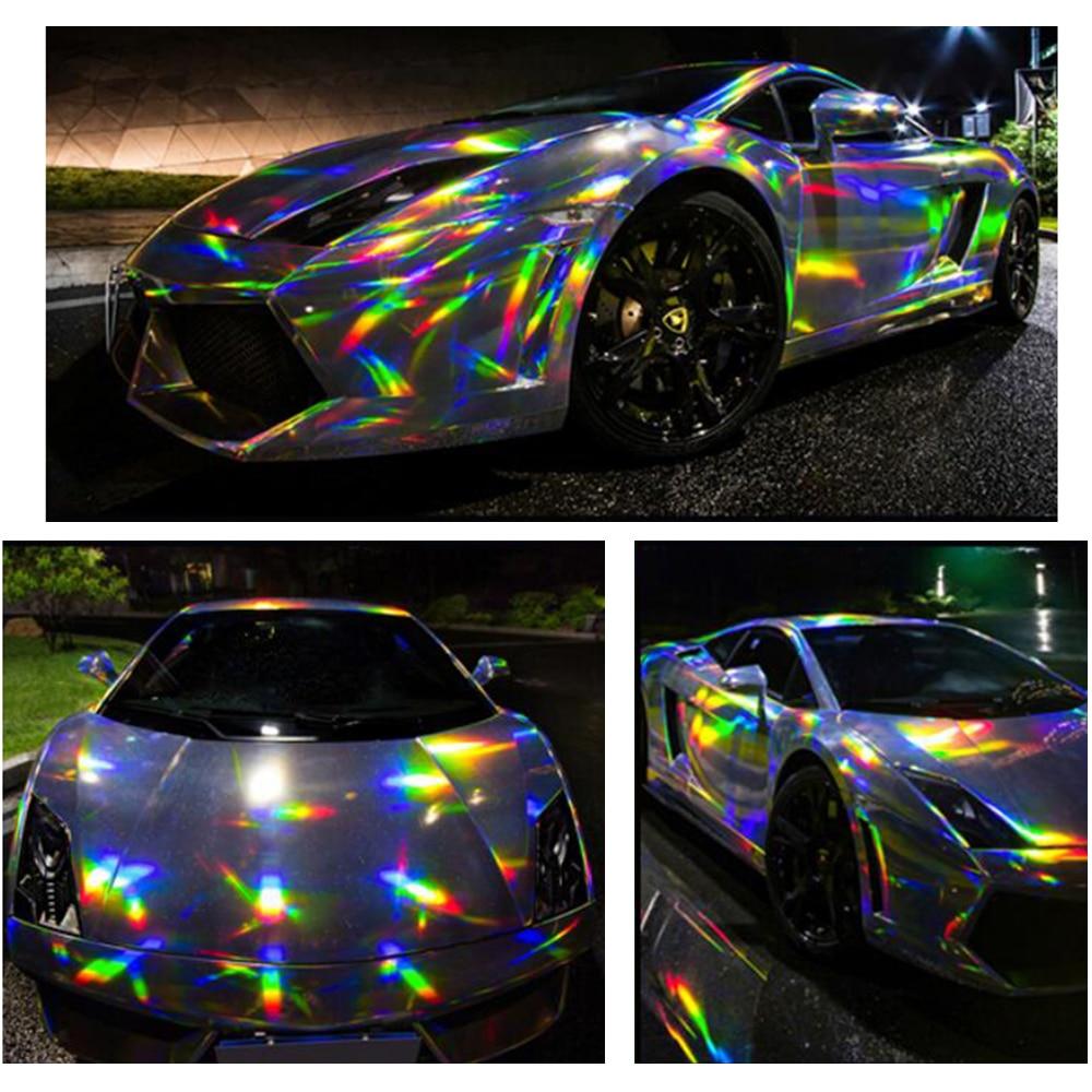 1 49x0 5m black holographic laser chrome car vinyl whole car wrap film self adhesive sticker colorful foil
