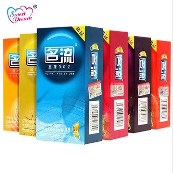 Personaje sexo condones 10 unids/lote 6 tipos Natural los condones de látex para hombres Ultra fino acanalado lubricado anticonceptivos sexo LF-114