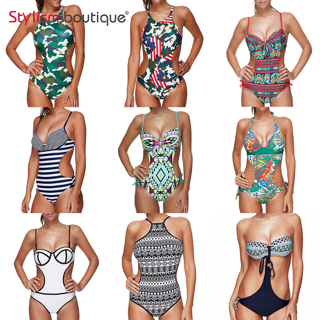 2018 New Printed One Piece Swimsuit Halter Sexy Cut Out Monokini High Neck Beachwear Plunge Swimwear Women Backless Bathing Suit new one piece swimsuit swimwear women sexy beachwear bodysuit monokini deep v neck backless halter top bathing suit