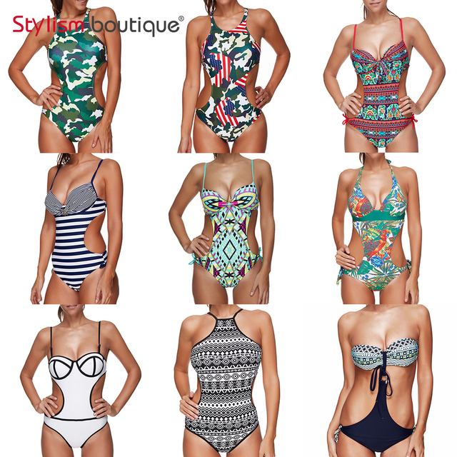 2018 New Printed One Piece Swimsuit Halter Sexy Cut Out Monokini High Neck Beachwear Plunge Swimwear Women Backless Bathing Suit
