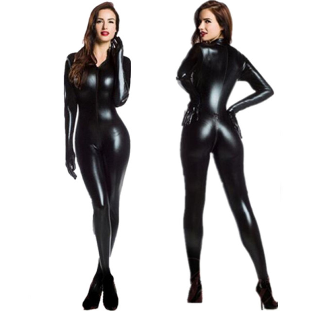 9935051bc1 M-XXL Women 2way zipper Faux Leather Catsuit Clubwear DS Latex Cat Women  With Gloves Fancy Costume Jumpsuit Plus Size