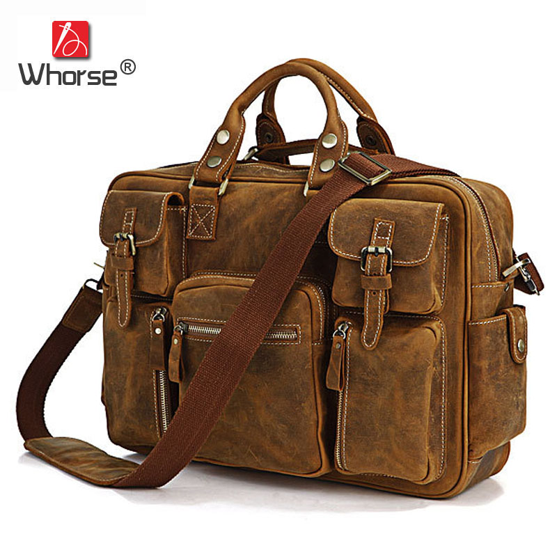Famous Brand Handmade Crazy Horse Leather Mens Business Briefcase 16 Laptop Bag Vintage Men Crossbody Messenger Bags W70281 2014 top selling multifunction messenger bags men crossbody bag small vintage famous brand men briefcase smb004