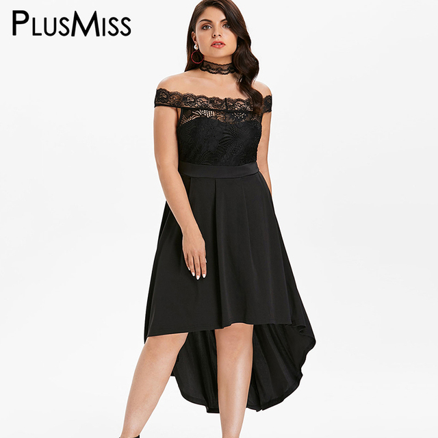 PlusMiss Plus Size 5XL XXXXL XXXL Off the Shoulder Sexy Black Lace Dress  Women Vintage High e03c915cba3b