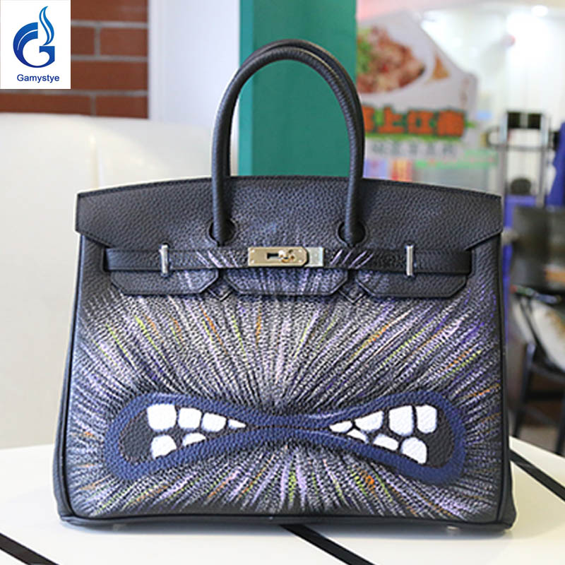 TOP new design brand Women Platinum bags hand-painted graffiti bag high quality bags woman handbags tote shoulder bag Lion tooth