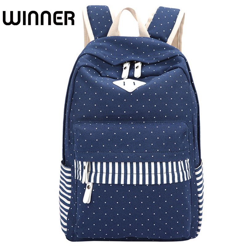 Winner Brand Canvas Dot Fringe Printing Backpack Women School Bags for Teenagers Girls Student Rucksack Mochila feminina canvas printing backpack women school bags for teenagers girls backpacks ladies bolsas mochila feminina black color