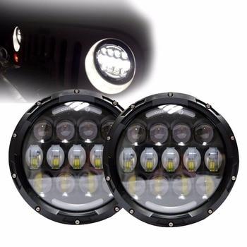 "1 Pair 78W 7 Inch Round Headlight 97-15 7"" Round LED Headlight Headlamp For Jeep Wrangler  CJ TJ JK"