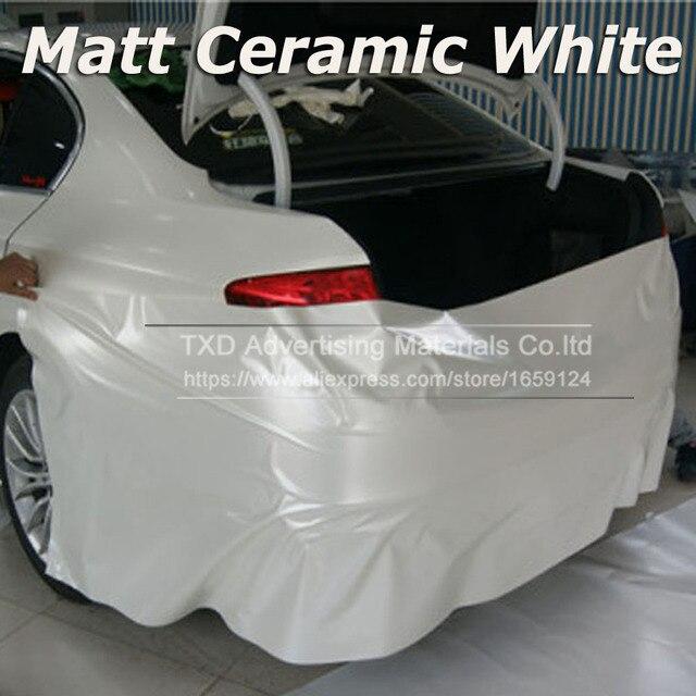 רכב סטיילינג כרום פרל קרמיקה לבן ויניל לרכב גלישת פרל מט לבן סאטן סרט עם גודל: 10/20/30/40/50/60x152cm