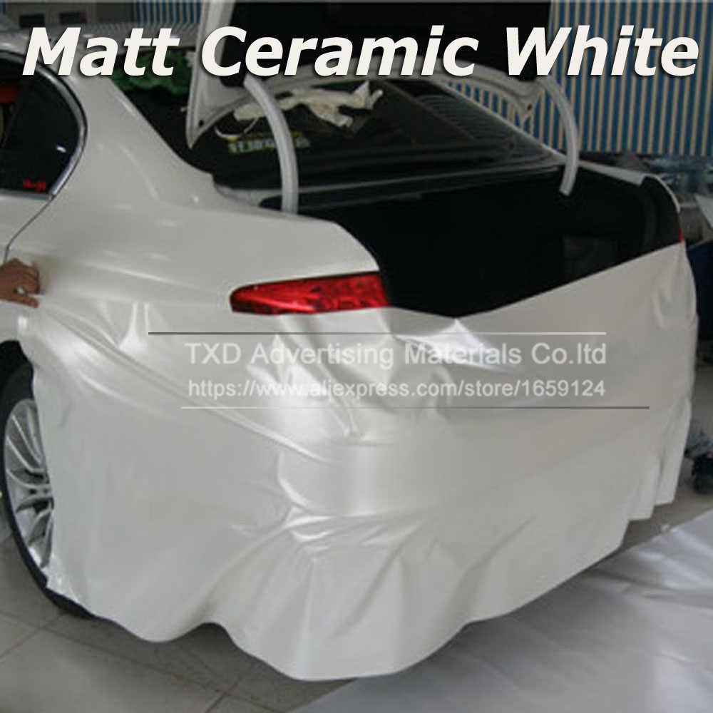 Auto Styling Chrome Parel Keramische Wit Vinyl voor car wrapping Pearl matte white satin film met Grootte: 10/20/30/40/50/60x152 cm
