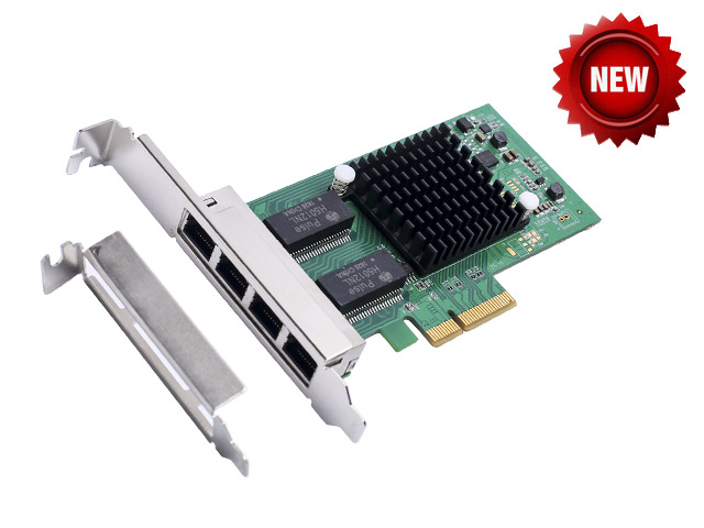 PCI-Express X4 4 Port Gigabit Ethernet Controller Card Intel I350-AM4 Chipset Support low profile bracket PCIE to 10/100/1000Mbp