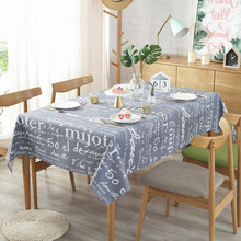 Vintage Table Cloth Letter Printed Rectangular TableclothThick Cotton  For Kitchen Modern Home Decorative Dinning Cover