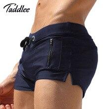 Taddlee Model Males Swimwear Boxer Trunks Swimsuits Mens Swim Surf Board Shorts Plus Dimension Swimming Pocket Brazilian Basic Minimize