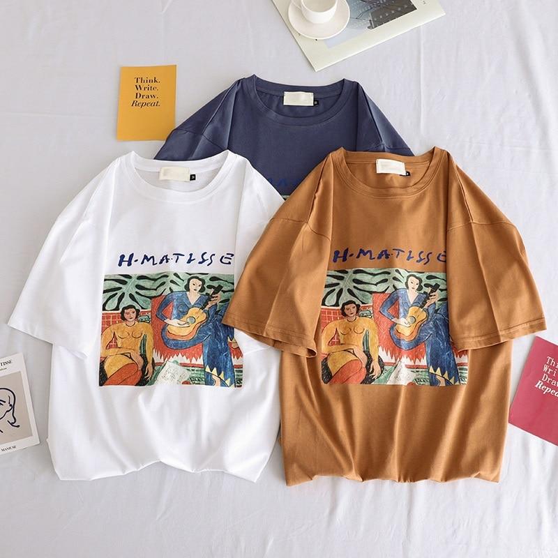 2019 Summer New Casual Women Tshirt Harajuku Ulzzang Short Sleeve O-neck Chic Basic T-shirts Korean Vintage Womens Clothing Tops