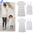 2017 Summer Mom And Daughter Dress Lace Dresses Mommy And Me Clothes One Set Vest And Dress Family Matching Outfits Mere Fille
