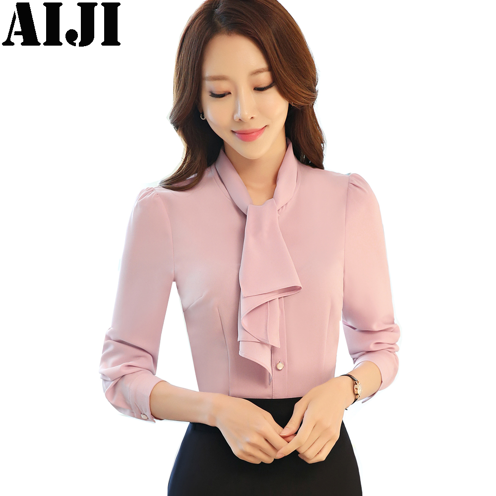 907fb7dcbef pink white elegant long sleeve blouses women OL chiffon shirts tops ladies  office business plus size 3XL bow tie work wear