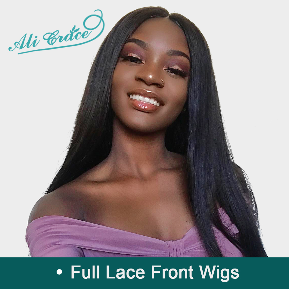 Pre-Plucked Full Lace Wigs Ali Grace Hair Remy Hair Wigs With Baby Hair 150% Density Brazilian Straight Human Hair Lace Wigs(China)