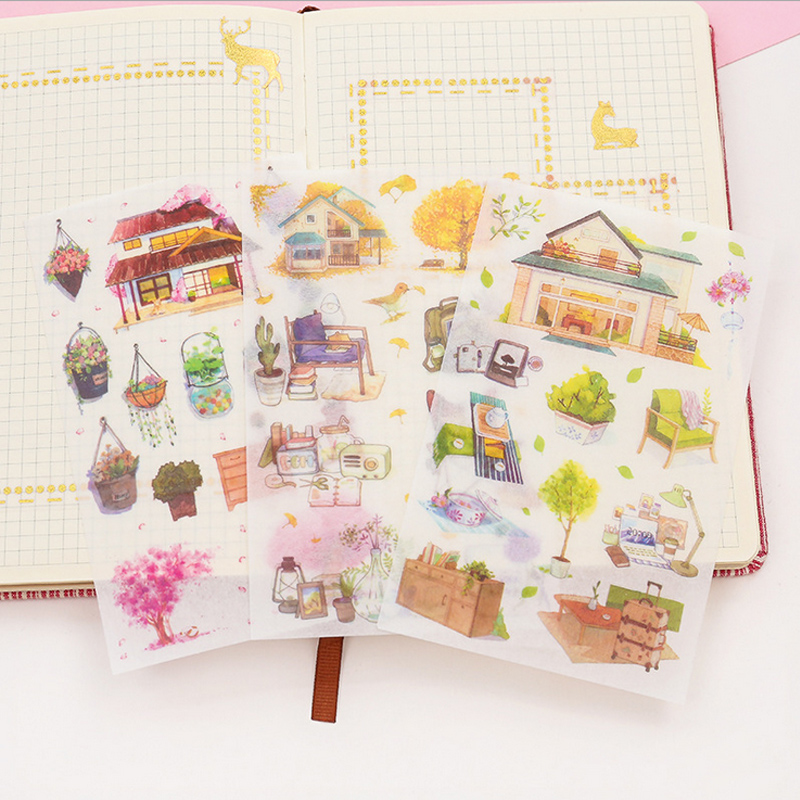 6 Pcs/Bag Warm Homeland Washi Paper Sticker DIY Decoration Sticker For Album Scrapbooking Label Sticker Kawaii Stationery