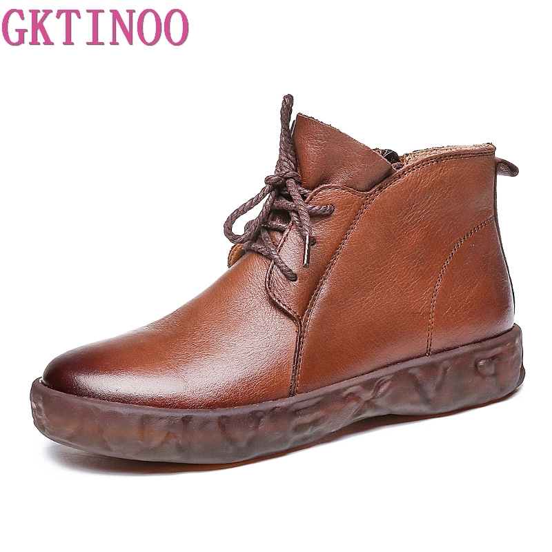GKTINOO Vintage Boots Women Female Lace up Genuine Leather Ankle Boots for Women Botas Feminina Bota