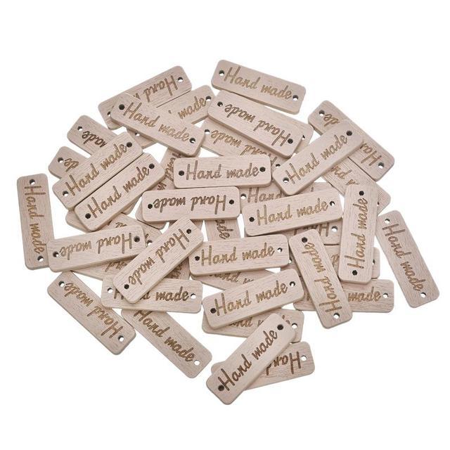 """50 Pcs מלבן עץ כפתור """"יד"""" עץ כפתור תפירת אביזרי בגדים בעבודת יד רעיונות קרפט DIY 10 * 30mm"""