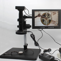 HD 1080P HDMI VGA Dual Output Industrial Microscope Measurement Camera 10X-200X C-mount Lens Fine-tuning Bracket 10-inch Monitor