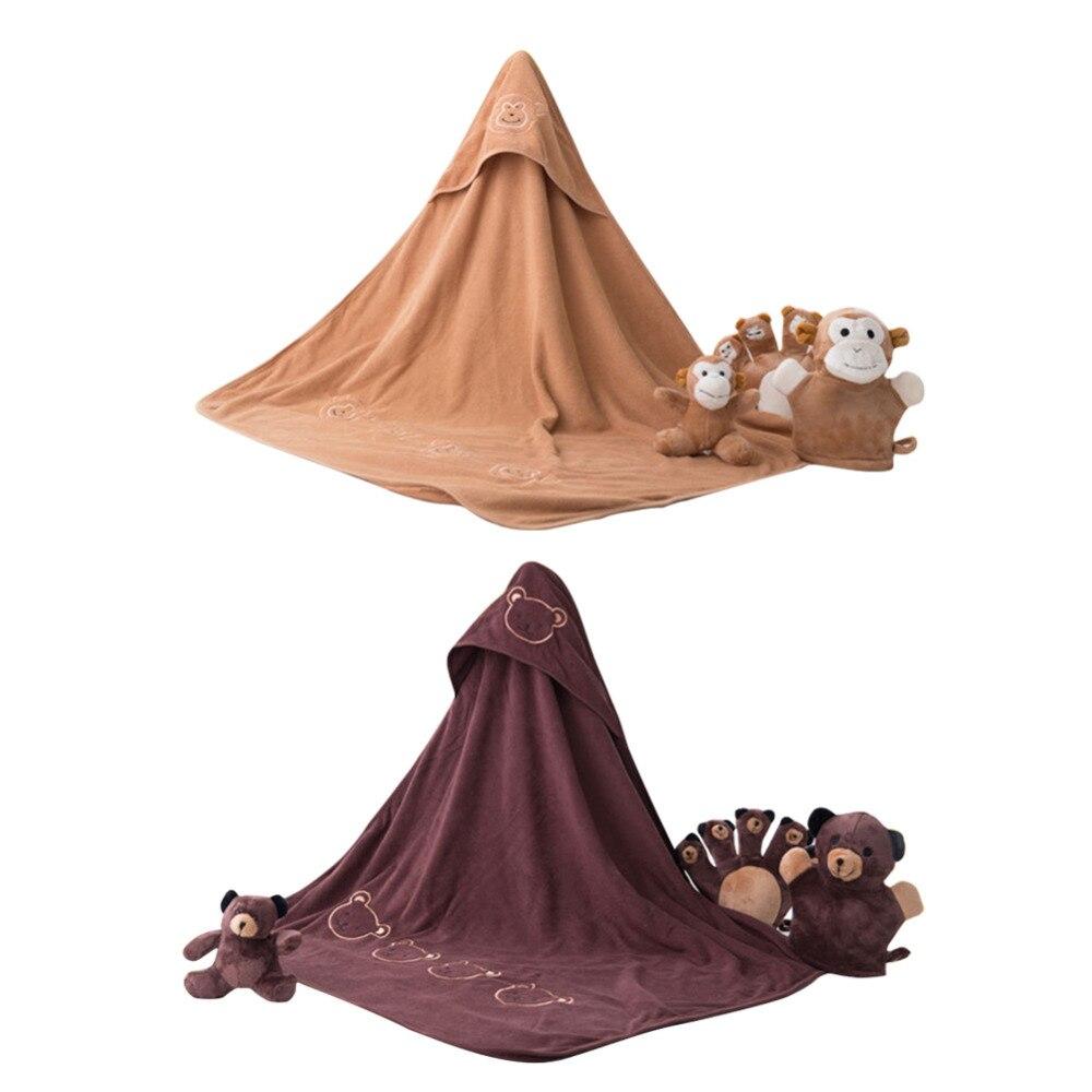 New Thin Style Children s Cartoon Bath Towel Baby Blanket Hooded Cloak Set best for newborn envelope for discharge