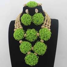 New Handmade Apple Green Nigerian Beaded Bib Necklace Set Chunky  African Fashion Jewelry Set Bridal Jewelry Free ShipLK0033