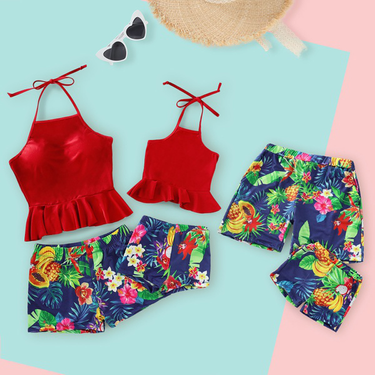 family matching halter swimsuit and trunk pants