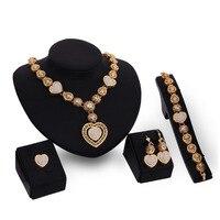 Classique Creux Coeur Perles Antique Or Couleur Bijoux Définit Quatre Pièces Mariée Boucle D'oreille Colliers Ensemble pour les Femmes De Mariage Charmes Cadeau