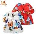 Monkids 2016 Otoño Niños Vestidos Para Niñas Vestido de Princesa de Los Niños Trajes de Ropa de los Bebés Vestidos de Impresión de La Mariposa