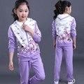 Модельер новый осень-весна девушки зимний костюм набор спортивные костюмы дети